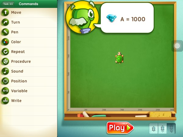 Move the Turtle review - The app also introduces more advanced programming topics, such as variables