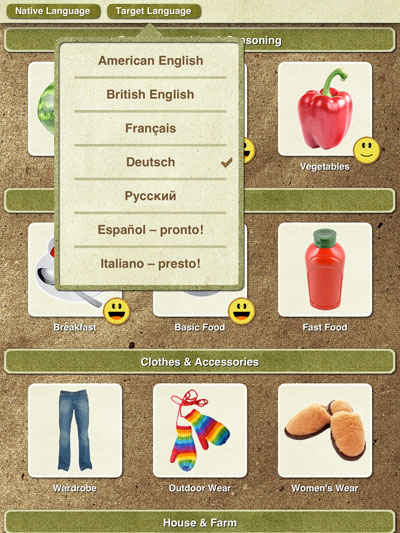Turn and Learn review - The app supports five different languages to accomodate learners of different mother tongues.