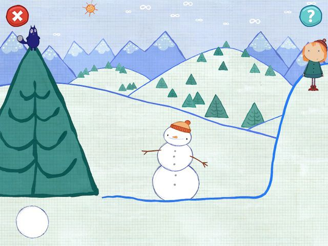 Peg + Cat: The Tree Problem has six different locations, including the South Pole that allows you to create big snowballs with a fun smudging gesture.