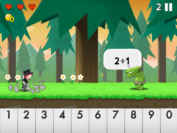 The game covers four basic math operations - addition, subtraction, multiplication and division.