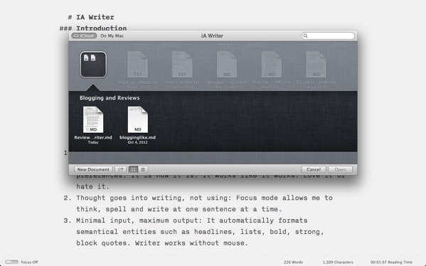 iA Writer review - iA Writer is one of the first applications to support iCloud folders.