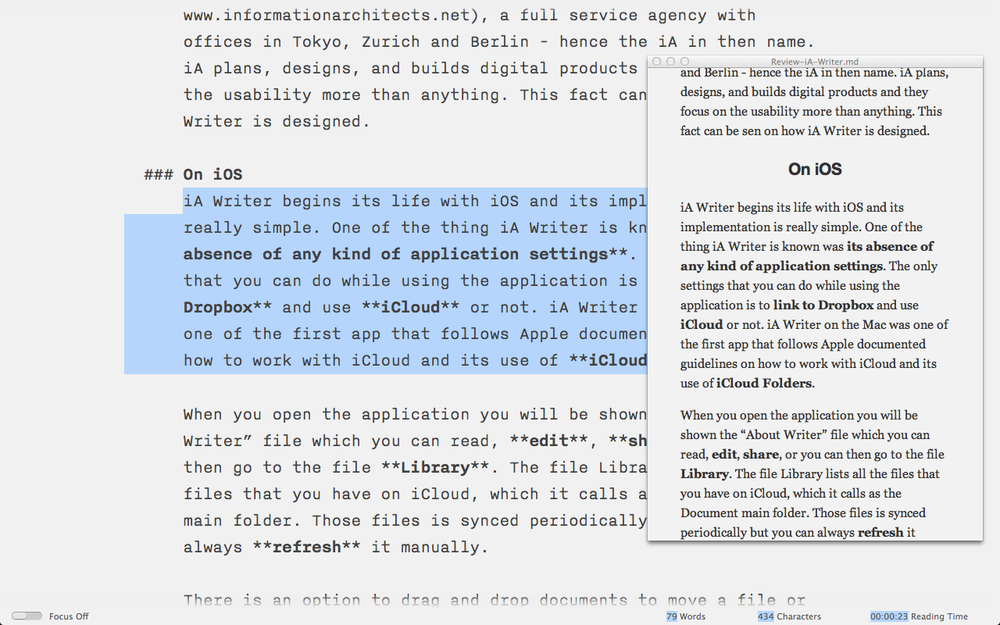 Mac Writer Preview Mode and Selection Sensitive Word Count to make your life easier