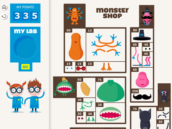 Collect points by practicing and use them to purchase monster parts