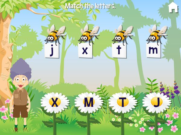 The app offers ten mini games that challenge a variety of skills, including word building, recognizing letters and colors, observation skills, memory, and more
