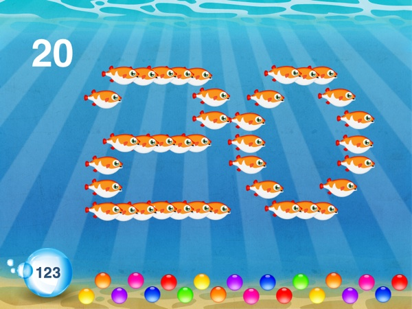 Fish School HD review - The app teaches about numbers, too.