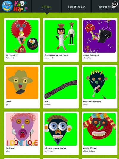 Faces iMake - Right Brain Creativity review - In FaceWorld, you can view pictures created by artists all over the world