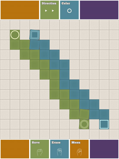 Finger Tied review - You can create your own levels using the intuitive Level Creator. Unfortunately, sharing is limited to handing your device over to other players.