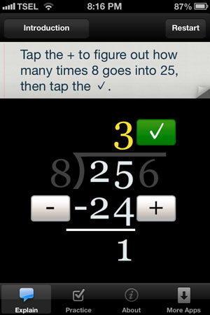 Long Division Touch review - The app provides instant feedback whenever you perform a step or make a mistake.