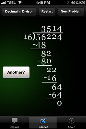 Long Division Touch review - The app is available for free with the option to unlock unlimited practice problems.
