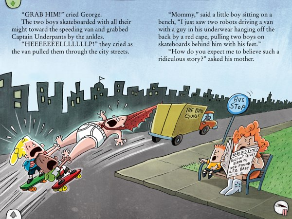 Harold, George, and Captain Underpants are stuck to evil Dr. Diaper's truck.
