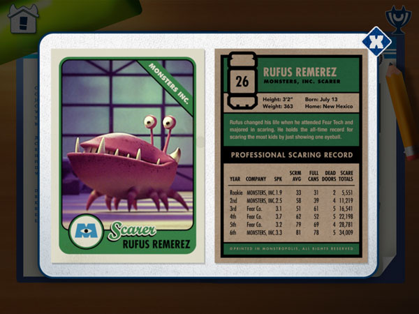 A Scare card contains stats about a monster character in the story.