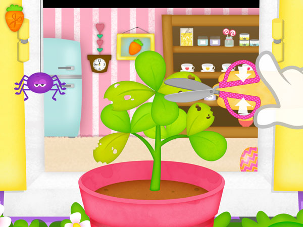 Happy Little Farmer review - Pinch to move the scissors and trim the sickly leaves.
