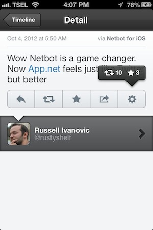 Netbot for iPhone Review - Netbot shows the number of reposts and stars as a nice popup in the post details.