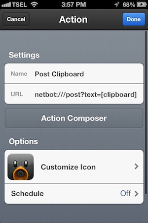 Netbot for iPhone Review - Netbot has a tight integration with Launch Center Pro.