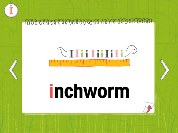 An inchworm made out of several I's.