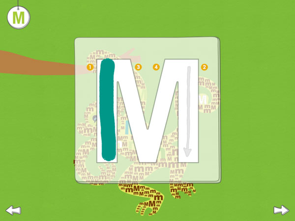 The letter M being traced in the app.