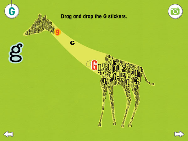 A silhouette of a giraffe filled with little G's.