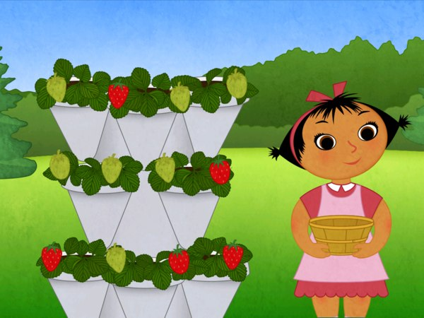 You can help pick strawberries by dragging the red ones into the basket.