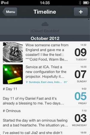 Day One includes the ability to sync with iCloud and Dropbox, which is a great plus for me.