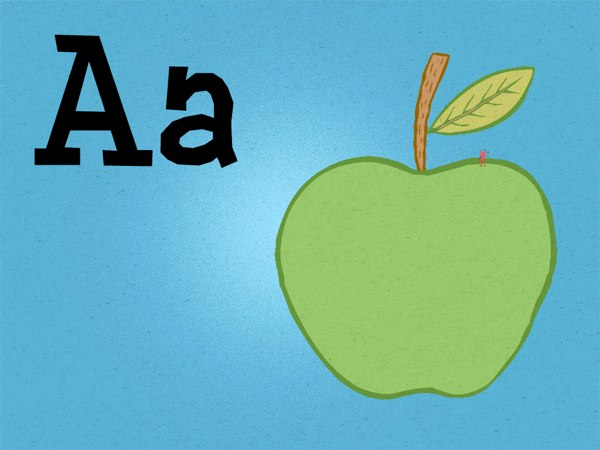On top of the huge apple, there is a tiny ant that represents the letter A.