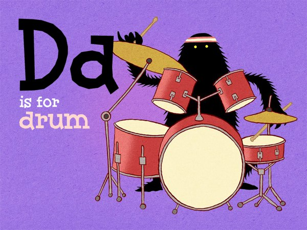 For the letter D, you can play with the fully functional drum set.