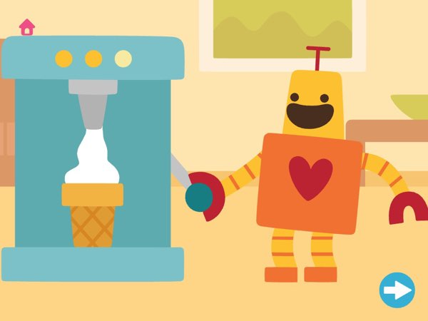 A combination of two of my favorite things: Hugbot the Robot and an ice cream machine.