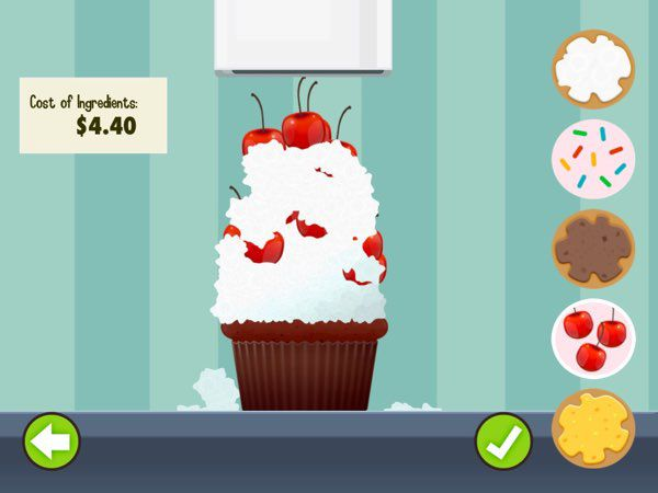 Motion Math: Cupcake allows you to design your own cupcakes, name them, and set their selling prices.