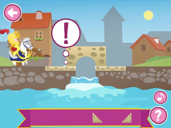 In Lipa Knight, kids are challenged to combine simpler shapes to form a bridge that connects the valiant knight to the other side of the rivers and cliffs, getting him closer to rescuing the kidnapped princess.