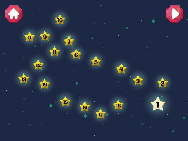 There are 30 different constellations available in the first version of this game, ranging from 3-star constellations to 18-star ones.