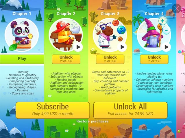 Numbie is a freemium game with the first chapter available for free. If you want to unlock the other chapters, you can either pay per chapter, pay for them all, or subscribe to a monthly plan.