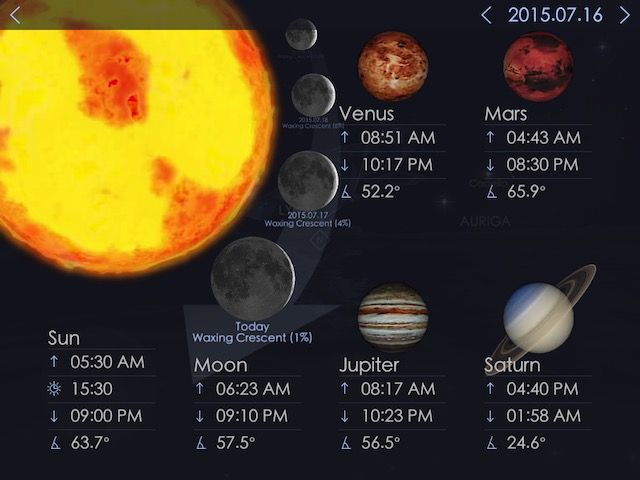 Star Walk 2 also includes a Sky Live menu that will show you the position and condition of the Sun, the Moon, and other planets in our solar system.