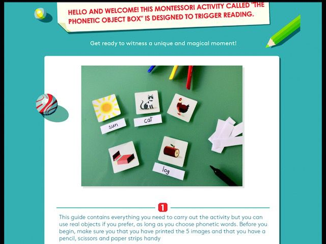 The app includes a printable parent kit to extend learning outside the device