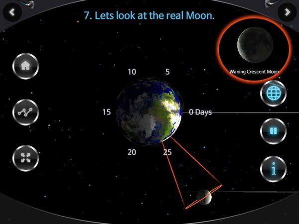 This 3D simulation shows how the Moon's movement around the Earth influences the transitions between different phases of the moon.