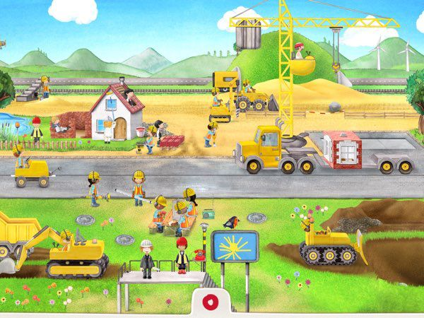Tiny Builders allows kids to role-play as construction workers, and uncover up to 50 interactive stories about construction sites.