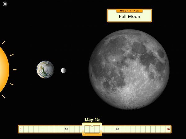 Interactive widgets allow readers to explore various topics, such as the phases of the moon