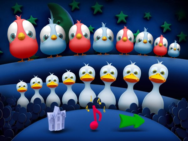 The Music Room in Save Your Planet Kids allows you to create music by tapping the birds and ducks.