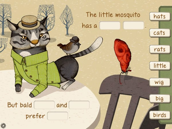 Each poem has an accompanying illustration that hints at the complete sentence.