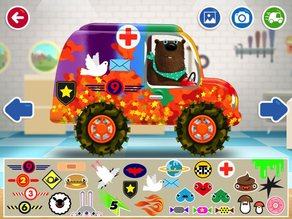 Kids can customizedream car using various painting tools, stickers, and add-ons in Pepi Garage