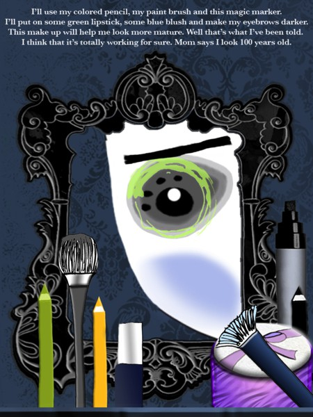 The app is full of fun interactions; readers can, for example, use the make-up tools to help the character get ready