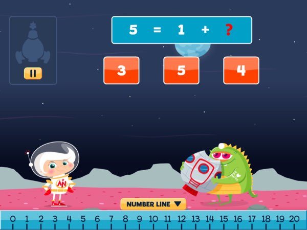 Astro Nora offers simple tools, such as number line and number grid, to help kids perform the required calculation to solve the problem.