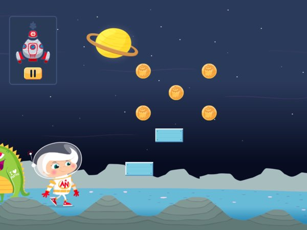 Astro Nora is not just a math drill app. It's also a simple game where you can tap anywhere on screen to make Nora jump and collect coins.