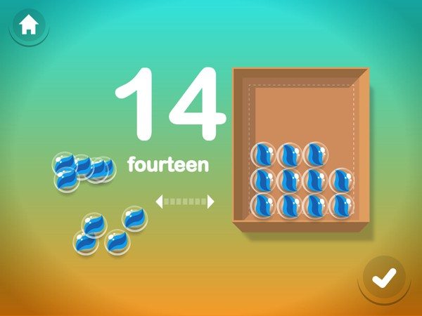 Various mini games teach you to write, count, and place numbers in sequence