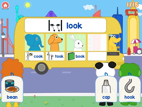 Rhyming Bus is designed to help kids ages 4+ to learn about rhyming words and word families in a visual and fun way.