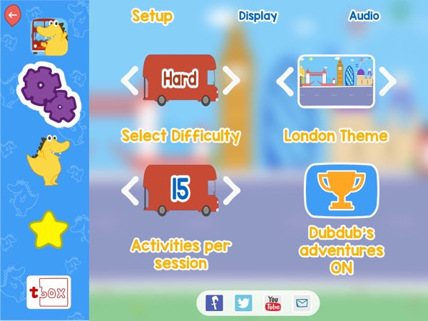 You can set how many word families your kids should play in each session. You can also set the difficulty level and the background theme.