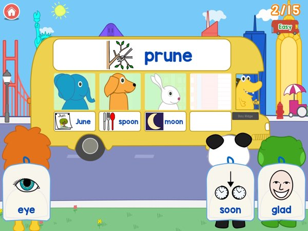 Rhyming Bus doesn't have a very strict rhyming policy, for example 'moon' and 'spoon' will rhyme with 'prune' and 'June'. The app focuses more on how you're going to pronounce a word instead of how you're going to write it, so it's easier for younger kids to learn rhyming words earlier.