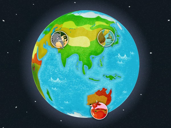 Spin the globe and find the animals in their natural habitat