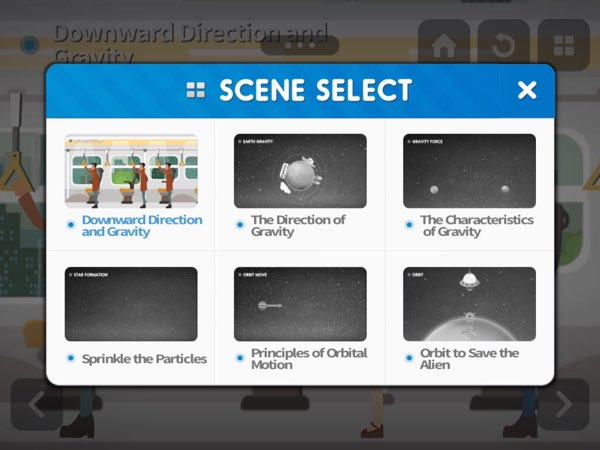 There are six scenes that you can play with and learn from. You can choose to navigate to any screen at anytime.
