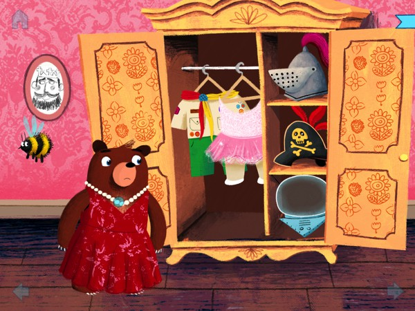 You can interact with the characters and objects on screen. In this scene, you can drag and drop outfits from the wardrobe to dress up Little Bear.