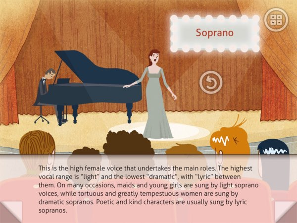 Let's Go to the Opera lets you listen to different voice types:  soprano, mezzosoprano, baritone, and bass.