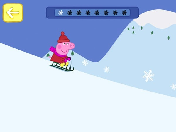 Participate in the toboggan race and collect all the snowflakes